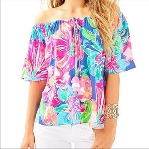 Lilly Pulitzer Sain Off The Shoulder Top Size S
